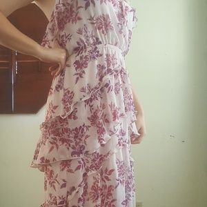 Express Dresses - Express High Low Pink Floral Stretchy Maxi  Dress